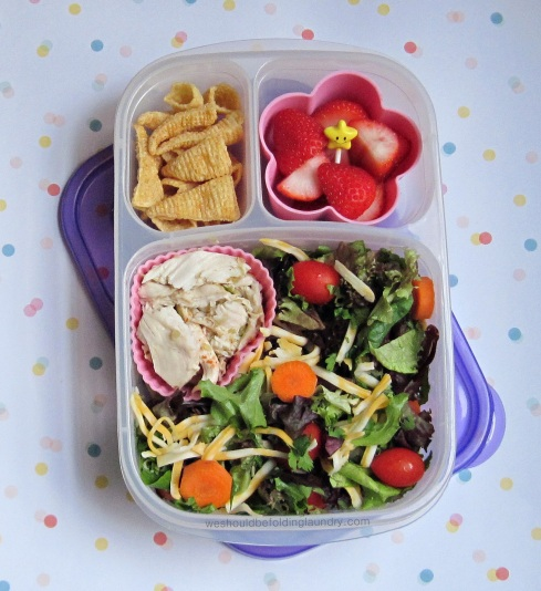 salad with shredded chicken bento