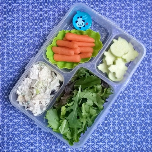 chicken salad with greens and veggies bento